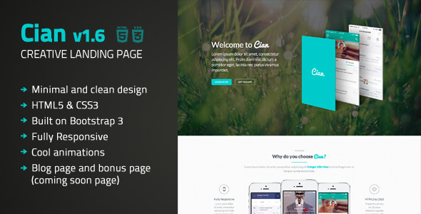 Cian - Landing Page Template + Coming Soon Giles Boghos