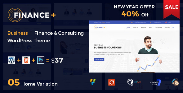 Finance + Corporate Business and Consultancy WordPress Theme Hadley Gerry