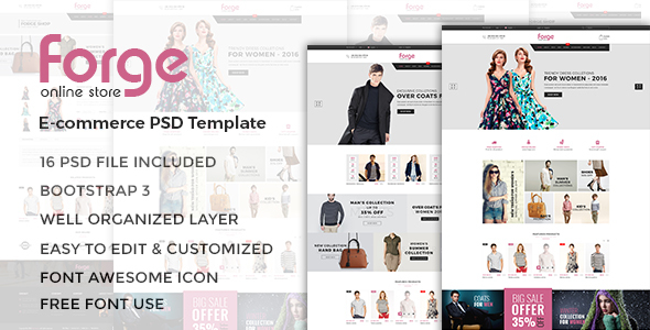 Forge - eCommerce PSD Template PSDTemplates Humphry Abdullah
