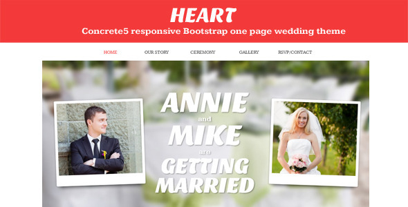 Heart - Concrete5 One Page Wedding Theme Ashton Napier