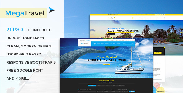 MegaTravel - Premium Tours and Travel PSD Template Lynwood Justice