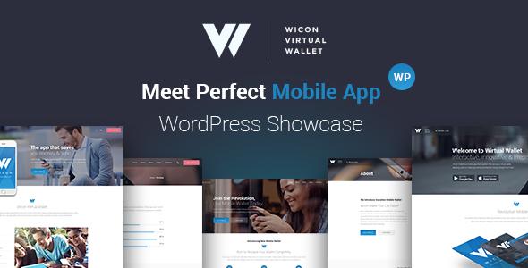 Mobile Wallet Application WordPress Theme - Wicon Jeremiah Flynn