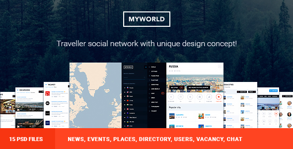 My World – Multipurpose Geolocation Directory & Events PSD Template Shelby Harper