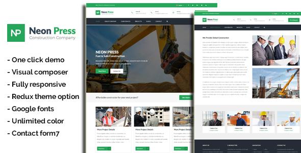 Neon-Press - Construction Business WordPress Theme Audley Wallis