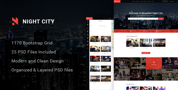 Night City - Multipurpose Geolocation Directory & Events PSD Template Jasper Flannery