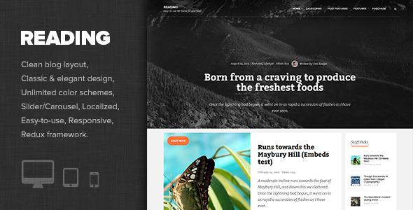 Reading - Elegant Personal Blog Theme WordPress Mattie Martie