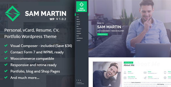 Sam Martin - Personal vCard Resume WordPress Theme Kuwat Rudyard