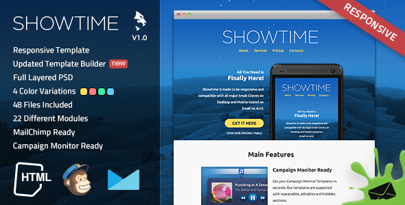 Showtime Responsive Email Template EmailTemplates Willis Jody