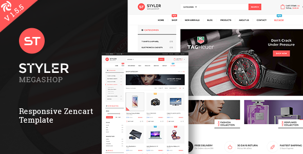 Styler Mega Shop - Responsive Zencart Theme Geordie Naomi