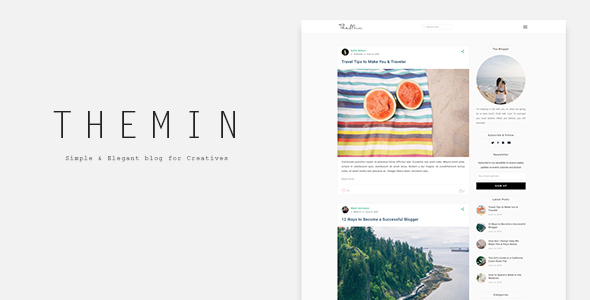 TheMin - Simple & Elegant WP Blog Theme Kip Dean