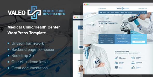 Valeo - health center, clinic & hospital WordPress Theme Justinian Chesley