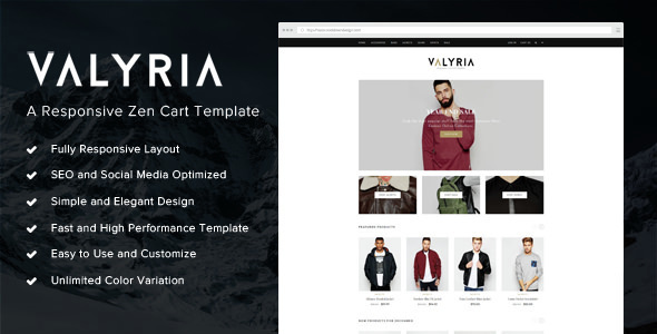 Valyria - A Responsive Zen Cart Template Ken'ichi Upton