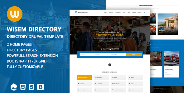 Wisem – Responsive Directory template for Drupal Gayelord Crispian