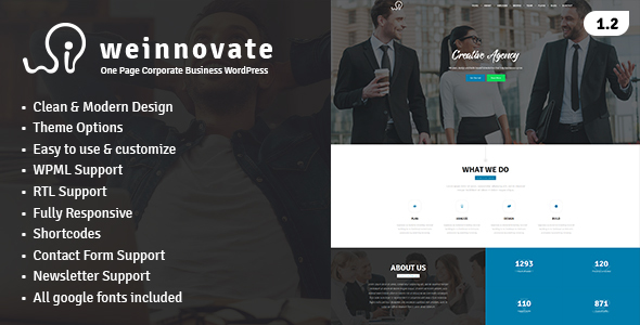 Weinnovate - One Page Corporate Business WordPress Nowell Carran