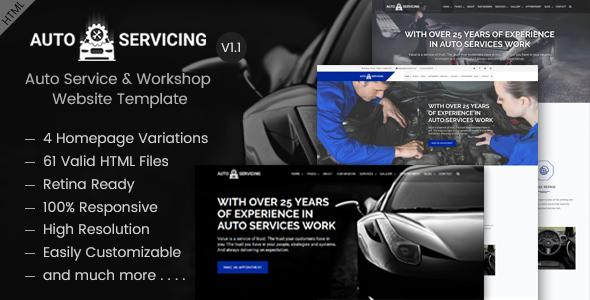 AutoServicing - Auto Service & Garage/Workshop Website Template            TFx Pierce Agung