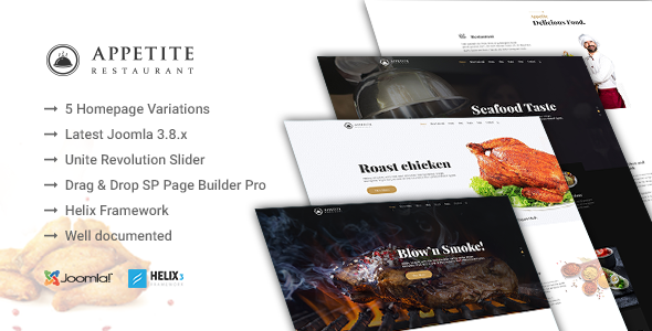 Appetite - Restaurant / Food Service Joomla Template            TFx Kyou Shawn