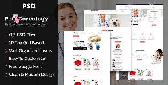 Pet Careology. Pet Care & Shop PSD Template            TFx Lindsay Mervyn