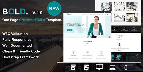 Bold - One Page Creative HTML5 Responsive Business Template            TFx Jepson Daiki