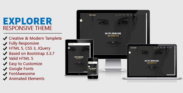 EXPLORER - One Page Personal Portfolio Template            TFx Ste Rodolph