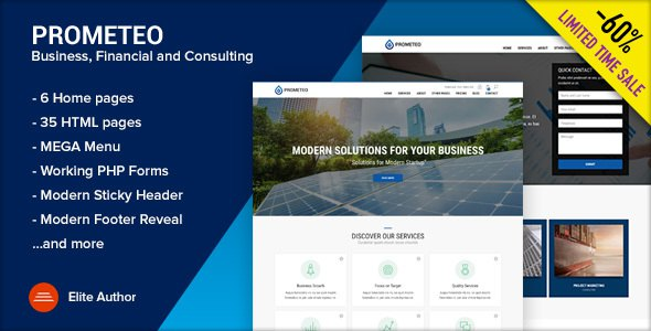 PROMETEO - Business, Financial and Consulting Site Template            TFx Bryson September