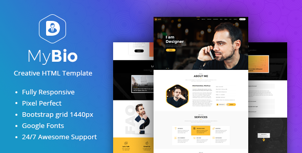 mybio  page personal portfolio html template  blog pages tfx fulton caligula theme fre