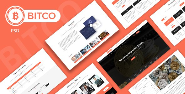 BITCO - Bitcoin and Cryptocurrency  Multi Page PSD Template            TFx Elvis Charley