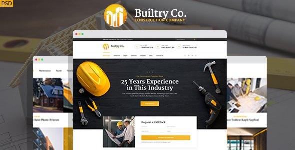 Builtry - Construction & Building Company PSD Template            TFx Maximilian Domenic