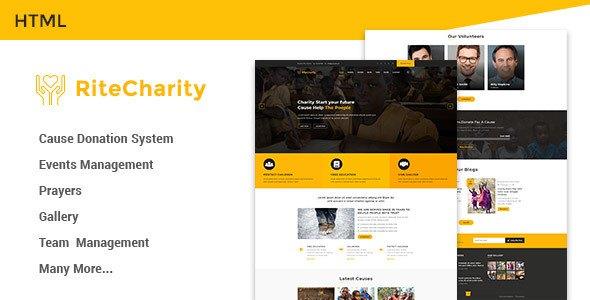 Rite Charity Donation | Nonprofit / Fundraising HTML Template            TFx Humbert Gainjain