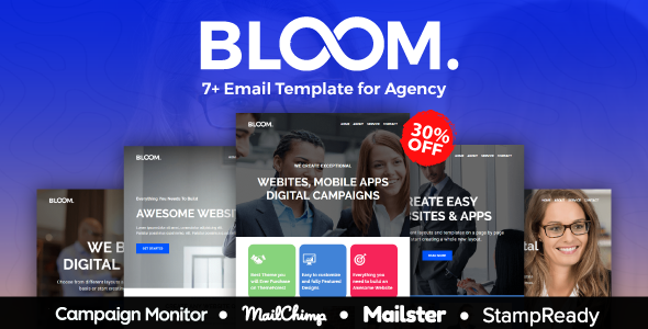 BLOOM - Multipurpose Agency Email Template With StampReady, Mailster, Mailchimp, Campaign Monitor            TFx Vedast Krisna