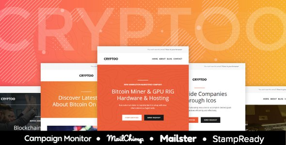 Cryptoo - Multipurpose Responsive Email for Crypto Currency + Online Builder + Mailster & Mailchimp            TFx Kim Newt