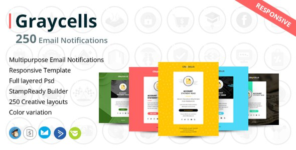 Graycells - 250 Responsive Email Notification with StampReady Online Builder Access            TFx Mansel Nik