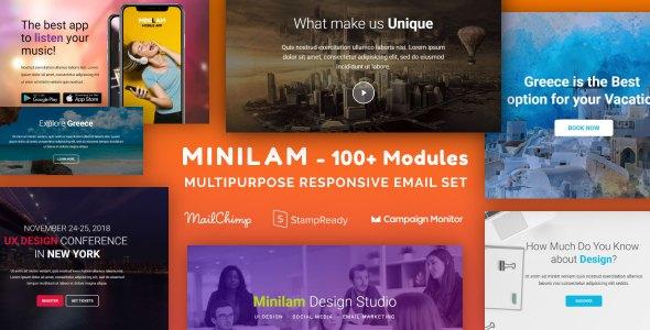 Miniliam - Responsive Email with 100+ Modules + MailChimp Editor + StampReady + Online Builder            TFx Bryant Kadek