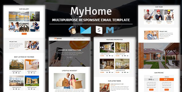 MyHome - Construction Responsive Email Template With Stampready Builder Access            TFx Zack Jerold