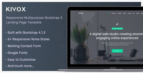 Kivox - Responsive Landing Page Template            TFx Selwyn Muscowequan