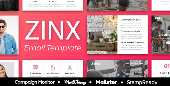 ZINX - Multipurpose Agency Email Template With StampReady, Mailster, Mailchimp, Campaign Monitor            TFx Jasper Jermaine