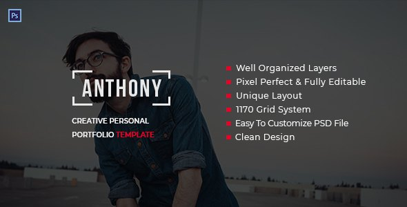 Anthony - Creative Personal Portfolio Template PSD            TFx Sid Skyler