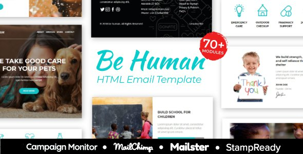 BeHuman - Multipurpose Responsive Email for Non Profit - StampReady Builder + Mailster & Mailchimp            TFx Bradley Kurtis