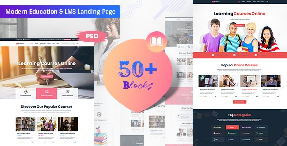 Bookflare - A Modern Education & LMS PSD Template            TFx Adam Hank