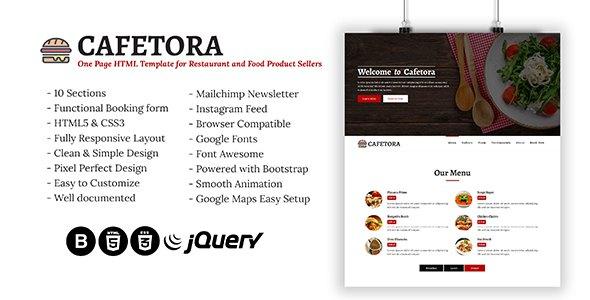 Cafetora - One Page HTML Template for Cafe, Restaurants and Food Seller            TFx Jerrod Palmer