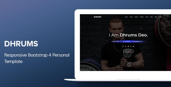 Dhrums - Responsive Bootstrap 4 Personal Template            TFx Ewart Neil