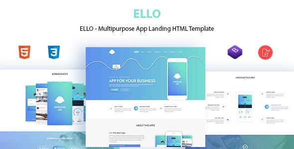 ELLO - Multipurpose App Landing HTML Template            TFx Kenta Royston