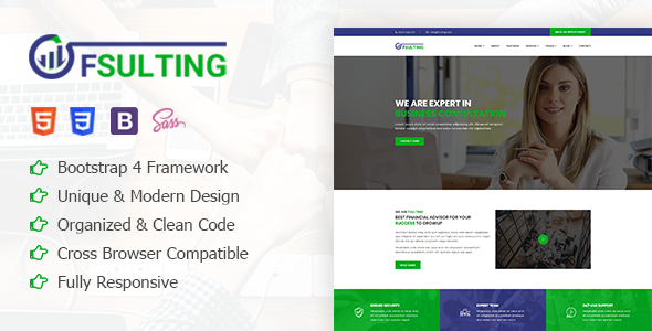 Fsulting - Financial Consulting Bootstrap 4 Template            TFx Origen Sawyer