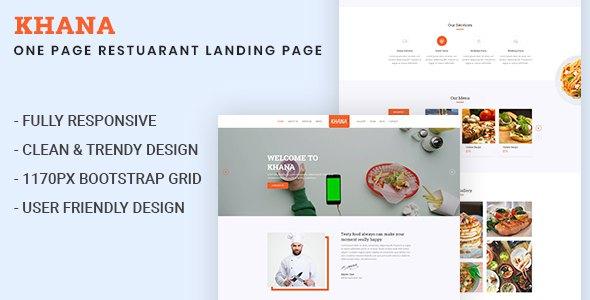 KHANA - One Page Restaurant PSD Template            TFx Ashkii Jim