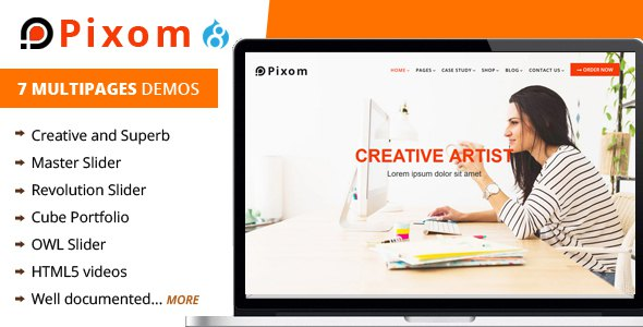 Pixom - Multipages Responsive Drupal 8 Theme | Business            TFx Talako Thom