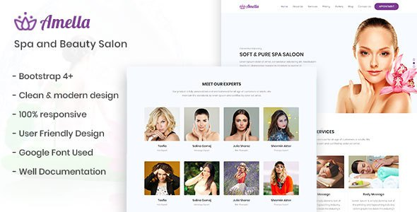 Amella - Spa and Beauty Salon Template            TFx Christopher Conner