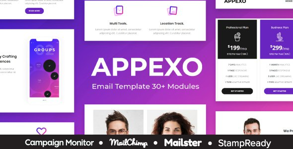Appexo - App Responsive Email Template + Mailster + StampReady Builder + Mailchimp Editor      TFx Arnold Zane