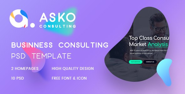 Asko - Business, Advice, Finance Consulting Psd Template            TFx Charley Cortney