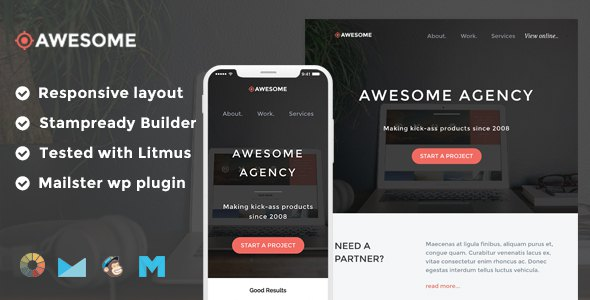 Awesome Responsive Email Template + Stampready Builder + Mailchimp + Mailster      TFx Kelvin Deforest