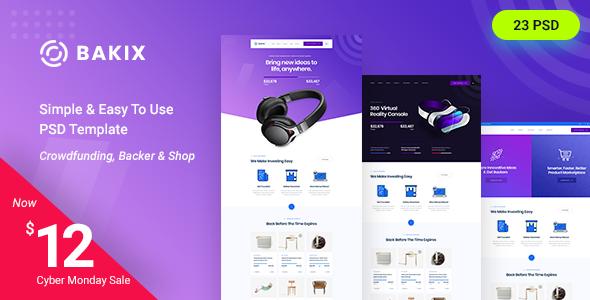 Bakix - Startup & Crowdfunding PSD Template      TFx Ellery Ethan
