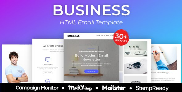 Business - Multipurpose Responsive Email Template 30+ Modules - StampReady + Mailster & Mailchimp            TFx Jed Kent